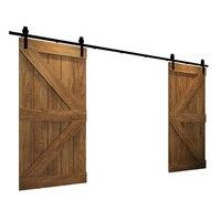 244cm 400cm Bent Straight Black Double Sliding Darn Door Track Hardware Hang 2 Door Kit Track System