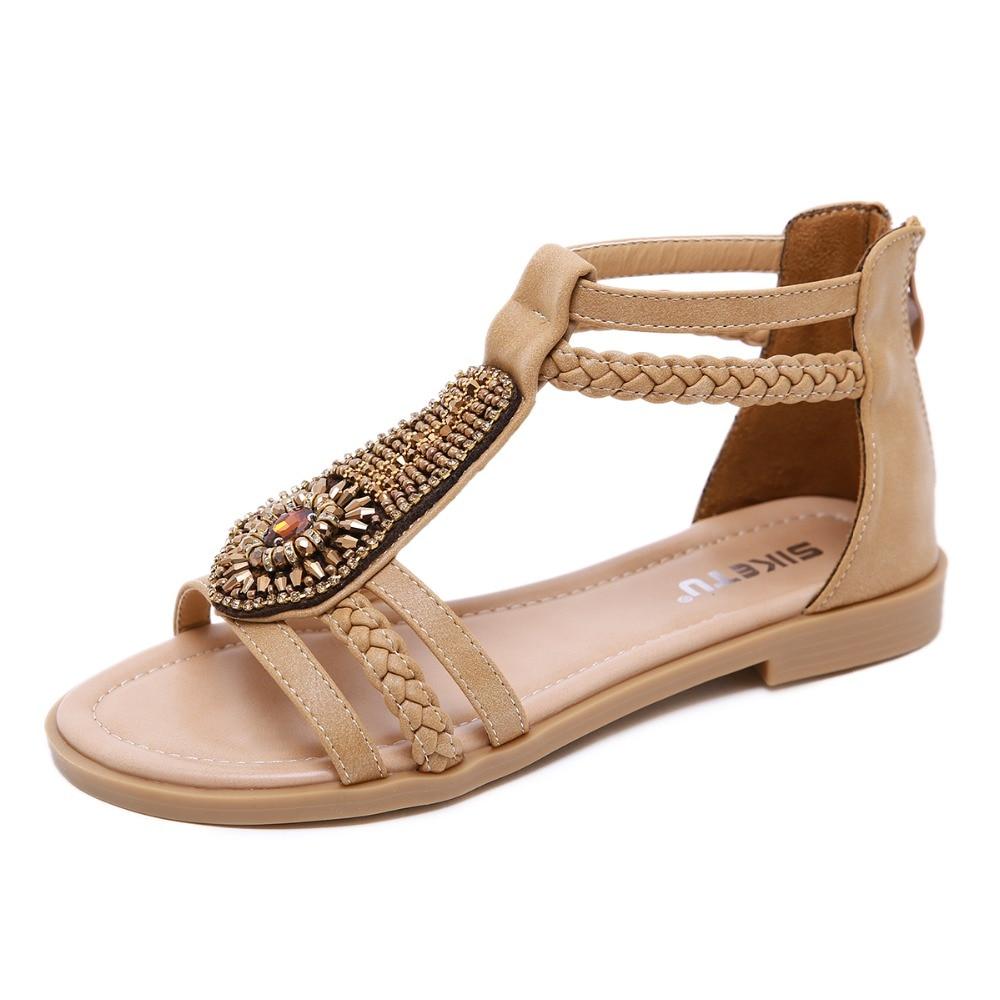 2019 Summer Sandal Folk-custom Open Toes Side Space Classics Beaded Shoes Woman Sandals Flat Sandals LEMAI2019 Summer Sandal Folk-custom Open Toes Side Space Classics Beaded Shoes Woman Sandals Flat Sandals LEMAI