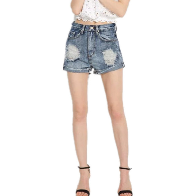 New Spring And Summer 2016 England Style Hole Boyfriend Denim Shorts High Waisted Shorts Jean Shorts