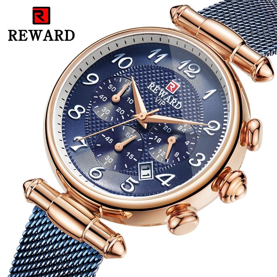 REWARD Retro Women Fashion Gold Blue Date Quartz Watch Lady Mesh Watchband High Quality Casual Waterproof Ladies Wristwatch