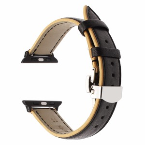 Image 5 - France Genuine Leather Watchband for iWatch Apple Watch 38mm 40mm 42mm 44mm Series 5 4 3 2 Dual Color Band Butterfly Clasp Strap