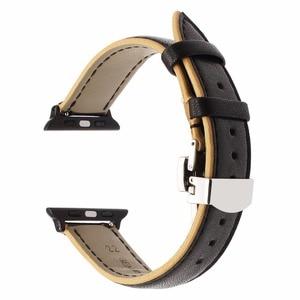 Image 5 - Frankreich Echtem Leder Armband für iWatch Apple Uhr SE 6 54 3 2 1 38mm 40mm 42mm 44mm Dual Farbe Band Schmetterling Spange Band
