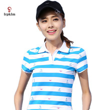2017 Summer Short Sleeve Polo Striped Tops For Women Causal Plus Size Polo Woman camiseta Polo feminina Ladies Poloshirts YY674