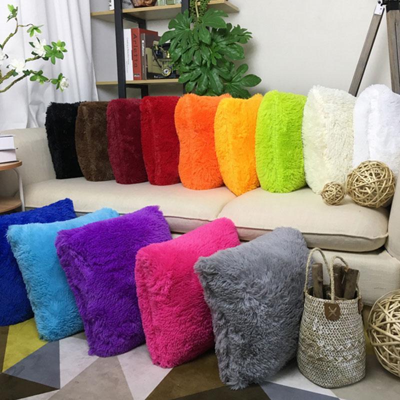 Soft Plush Faux Fur Wholesale Decorative Cushion Pillowcase Throw Pillow For Sofa Car Chair