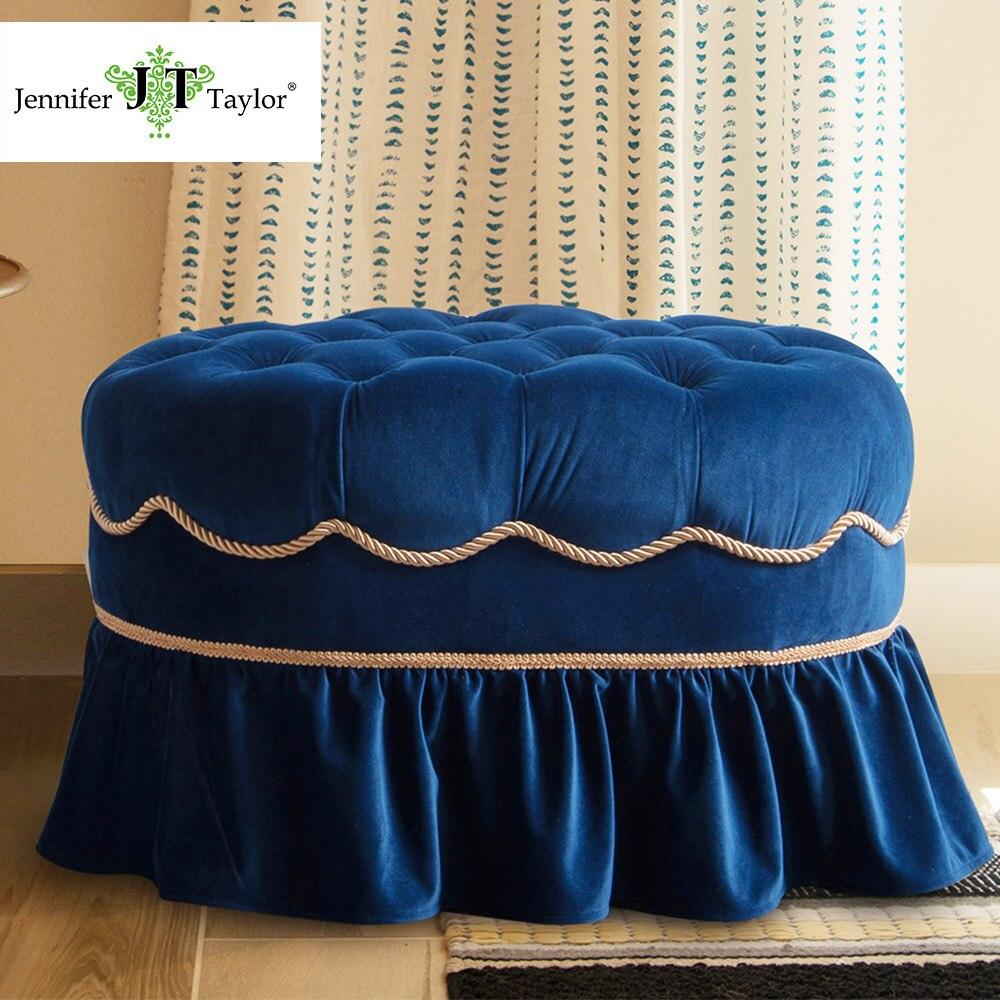Jennifer Taylor Home, Ottoman, Navy Blue/ Sea Foam Green, Hand Tufted, Cord, & Trim Tassels w/ Skirt 18W x 26D x 18H 2351 loogu 9m x 10m 29 5ft x 33ft sea blue