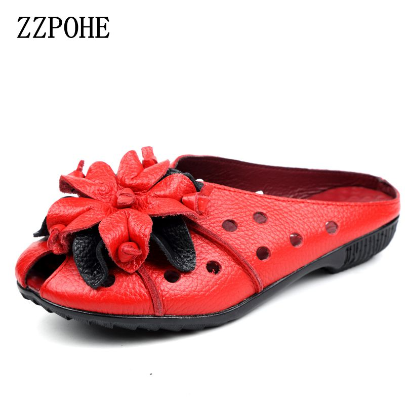 ZZPOHE 2017 Summer Women Sandals Fashion Soft Leather Genuine Hollow Out mother Flat shoes Woman Handmade Casual Sandals summer mother shoes woman genuine leather soft outsole open toe sandals casual flat women shoes 2018 new fashion women sandals