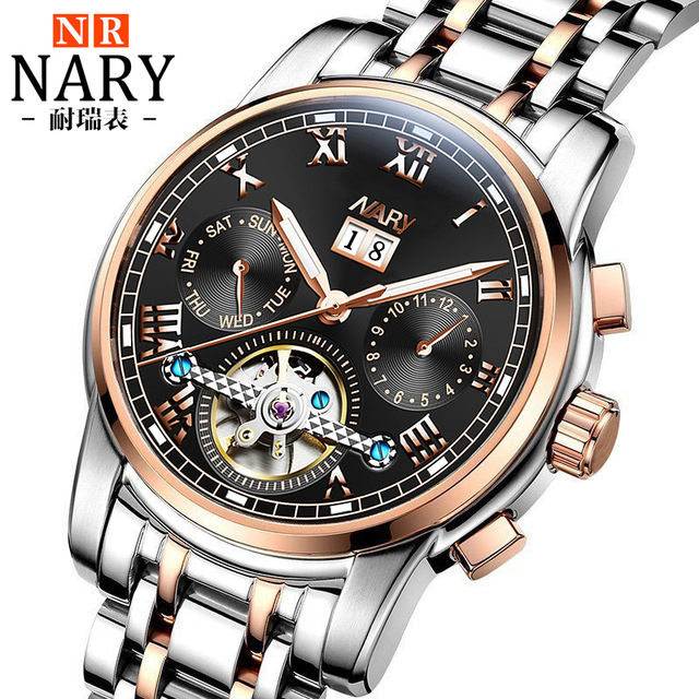 Automatic Tourbillon Men Mechanical Watch Sport Clock NARY Brand Luxury Stainless Steel Mens Business Wrist Watches relojes mens watches top brand luxury round steel case business watch men sport tourbillon mechanical watch fashion clock new horloge