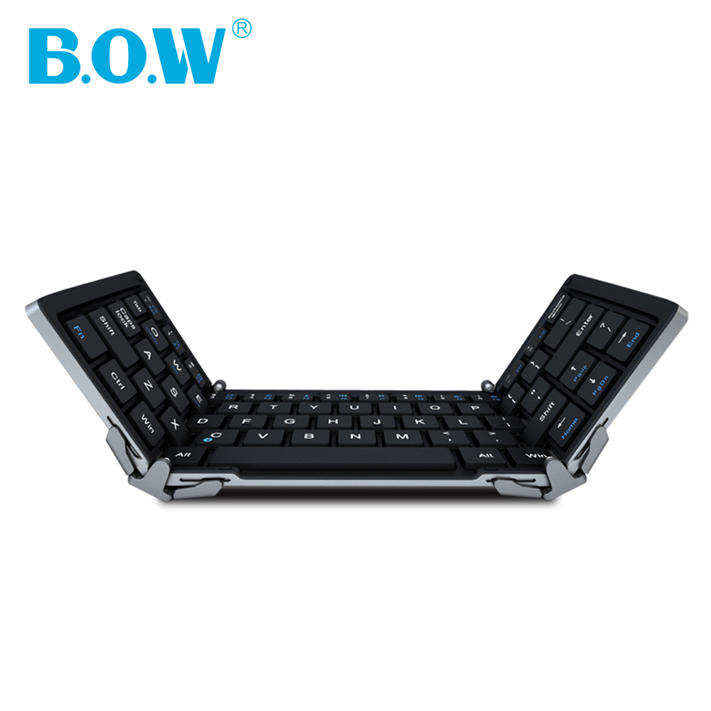 B.O.W Mini Bluetooth-toetsenbord Opvouwbaar (opvouwbaar) Aluminium koffer voor iOS, Android, Windows, pc, tablets en smartphone