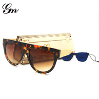 G M 2018 Hot Sale Female Male Vogue Sunglasses Big Wooden Bamboo Stick Wood Yellow Gold Leopard Sunglasses