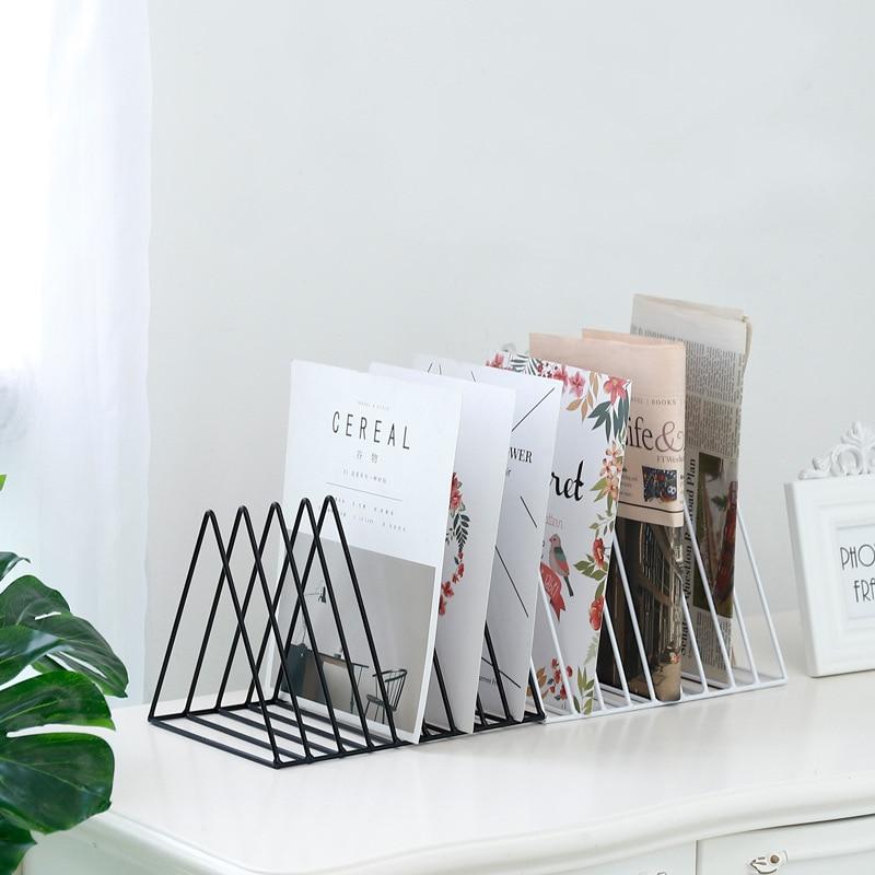 Nordic Metal Shelf Wrought Iron Newspaper Holder Rack Organizer Magazine Decor Desktop Display Stand Storage Book Shelves Room in Storage Holders Racks from Home Garden