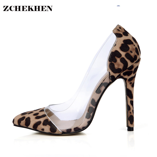 3e1783f6449b 2018 Hot Sale PVC candy Spring Autumn Pointed Toe Women Pumps thin High Heels  Shoes Casual Office Leopard Print Shoes 0640 h2 on Aliexpress.com