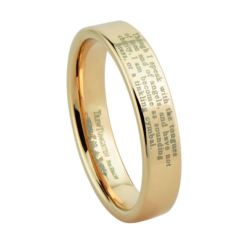 Flat Polished Finish Laser Engraved Rose Gold Tungsten Carbide Wedding Ring Width - 4mm /TURI0006RL
