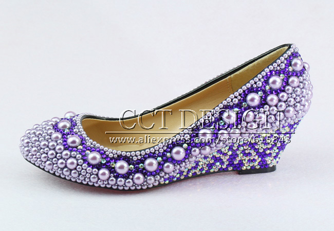 2017 New Fashion Purple Wedding Wedges Formal Shoes Rhinestone And Pearl Wedge High Heel Platform Bridal In Women S Pumps From