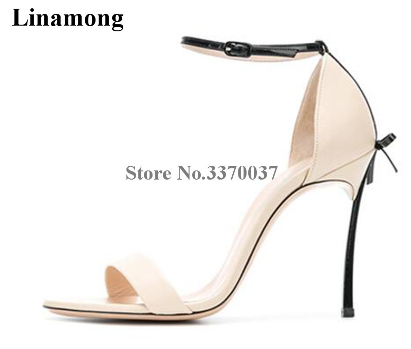 Brand Design Women Fashion Open Toe Bowtie Metal Heel Sandals Ankle Strap 10cm 8cm Super High Heel Sandals Formal Dress Shoes fashion women s sandals with metal and stiletto heel design