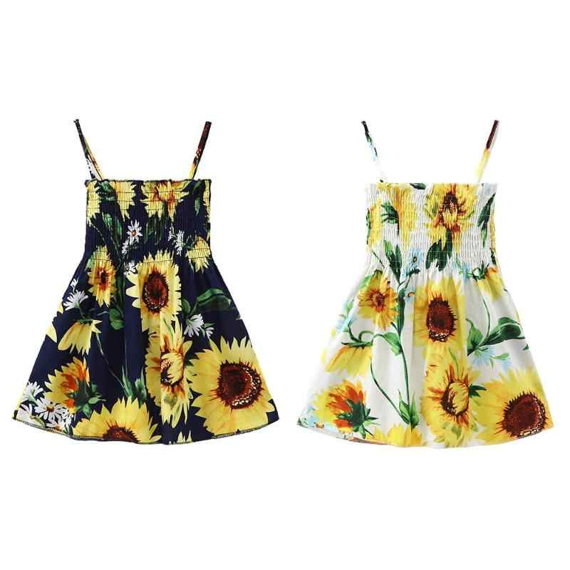59d24e2c69547 Baby Girl Clothes Casual Sleeveless Sweet Summer Sunflower Print Wrap Chest  Spaghetti Strap Backless Dress Kids Dresses 3-7T