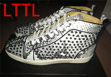 LTTL Fashion Rivets Cause Men Shoes Flat With Shoes Spike Studded Lace Up Luxury Design Platform