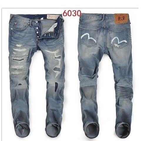 2019 New Arrival Authentic Evisu Trend Fashion Men Pants Jeans Straight Print Washed Holes Top Quality Mid Waist Men's Trousers