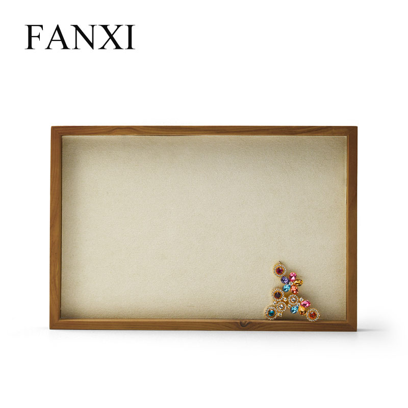 FANXI New Solid Wood Jewelry Display Stand with Microfiber Ring Pendant Bangle Display Tray Table Set 2 Color Showcase Exhibitor in Jewelry Packaging Display from Jewelry Accessories