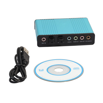 New Professional USB Sound Card 6 Channel 5.1 Optical External Audio Card Converter Sound Card for PC Laptop Desktop Tablet Blue Звуковая карта