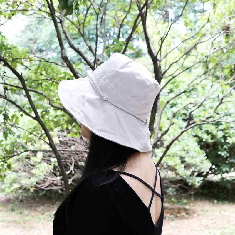 の保護バケツ帽子女性折りたたみビーチ帽子通気性太陽キャップソリッドカラーの屋外カジュアルなフロッピーワイドつばバイザーキャップ