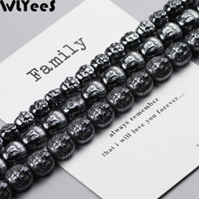 WLYeeS Special-shaped Hematite beads Lion Buddha head Maitreya Buddha Spacer Loose Bead for Religion Jewelry Bracelet Making DIY fenlu fl 083 double faced buddha head shaped bracelet silver