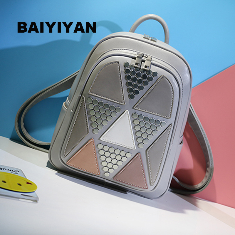 2018 New High Quality Womens Backpacks Rivet Patchwork School Bag Panelled brand designer Fashion ladies back Bag ...
