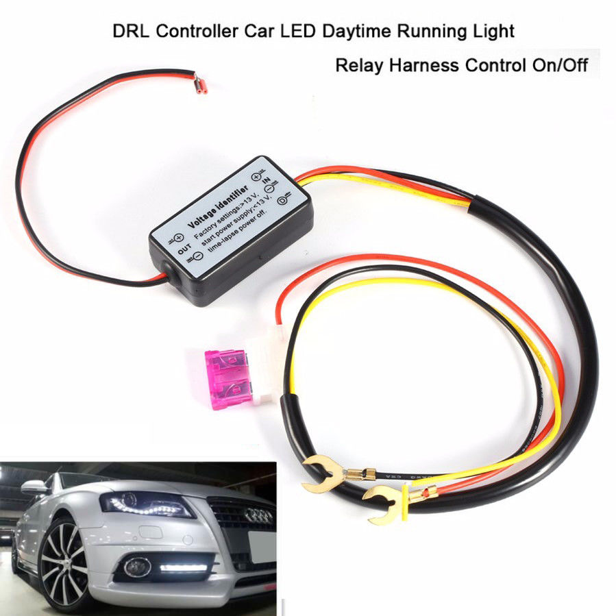 Auto Car Led Daytime Running Light Relay Harness DRL Control ON OFF Automatic Dimmer 12V carchet drl daytime running led light relay harness control on off dimmer car daytime running lights