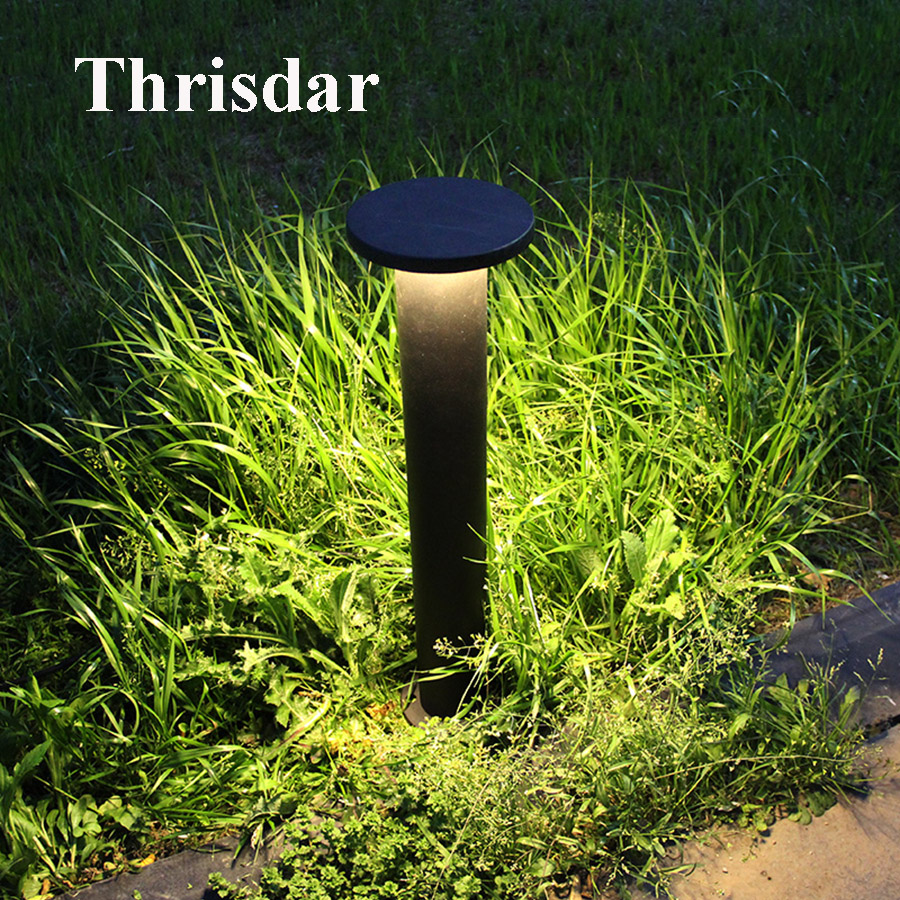 Thrisdar Outdoor Garden Landscape Lawn Bollard Lights Aluminum Pathway Fence Gates Villa Park Post Lamp Modern Patio Road Light villa lawn lamp post light garden pathway 220v 110v outdoor landscape lighting decoration waterproof lights for the garden