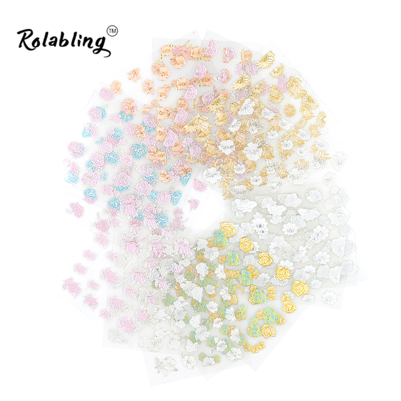 Hot Sale 3D Flower Self-adhesive nail sticker popular nail design Decorative Decals for Nail Art Nail Art Decorations hot sale 12 styles pink flower designs 3d art nail stickers woman diy nail art decorations tip nail vinyls decals