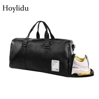 0d4383e28 Portable Travel Bag Men Women Waterproof PU Leather Business Weekend Bag  Large Capacity Luggage Shoulder Crossbody Duffle Bags