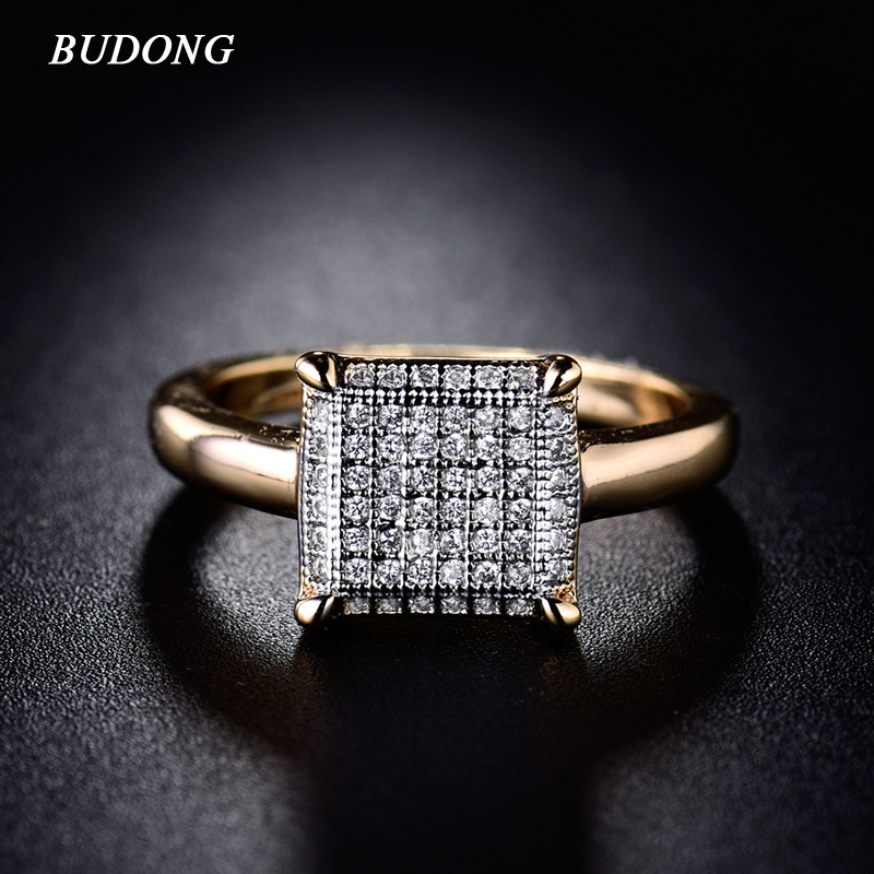 BUDONG Infinity Ring para mujer Valentine Fashion Large Square Gold Color Ring Luxury Crystal Cubic Zircon Wedding Jewelry xuR229