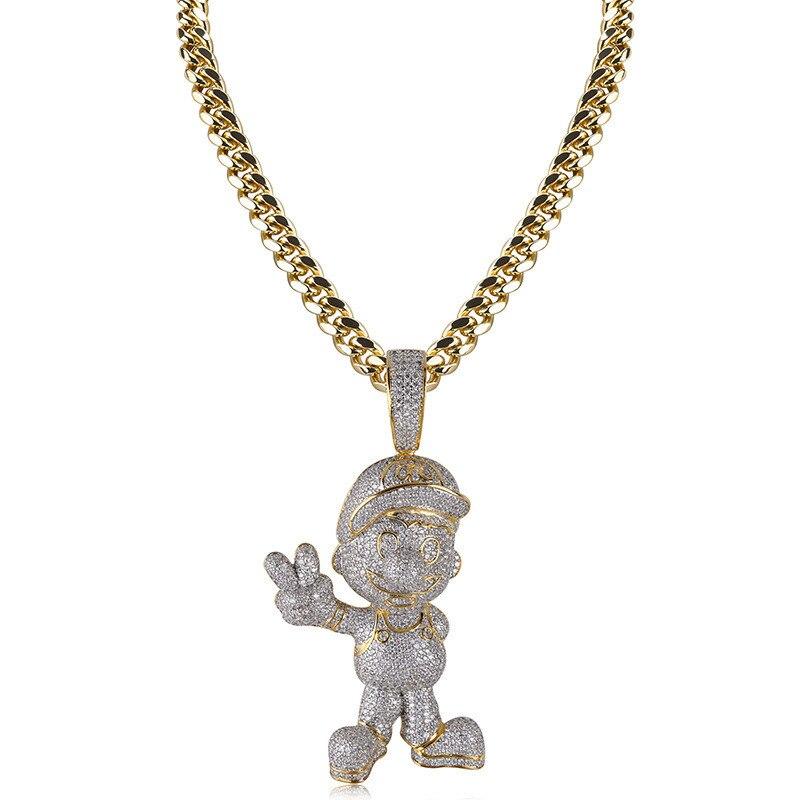 Lucky Sonny personnalisé 3D Hip Hop bijoux plein CZ glacé bande dessinée pendentif collier or argent couleur Bling chaîne cubaine collier Joyas