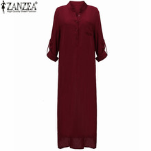 Zanzea Fashion Vestidos 2017 Autumn Women Sexy Casual Dress Long Sleeve Deep V Neck Linen Split Solid Long Maxi Dress Plus Size