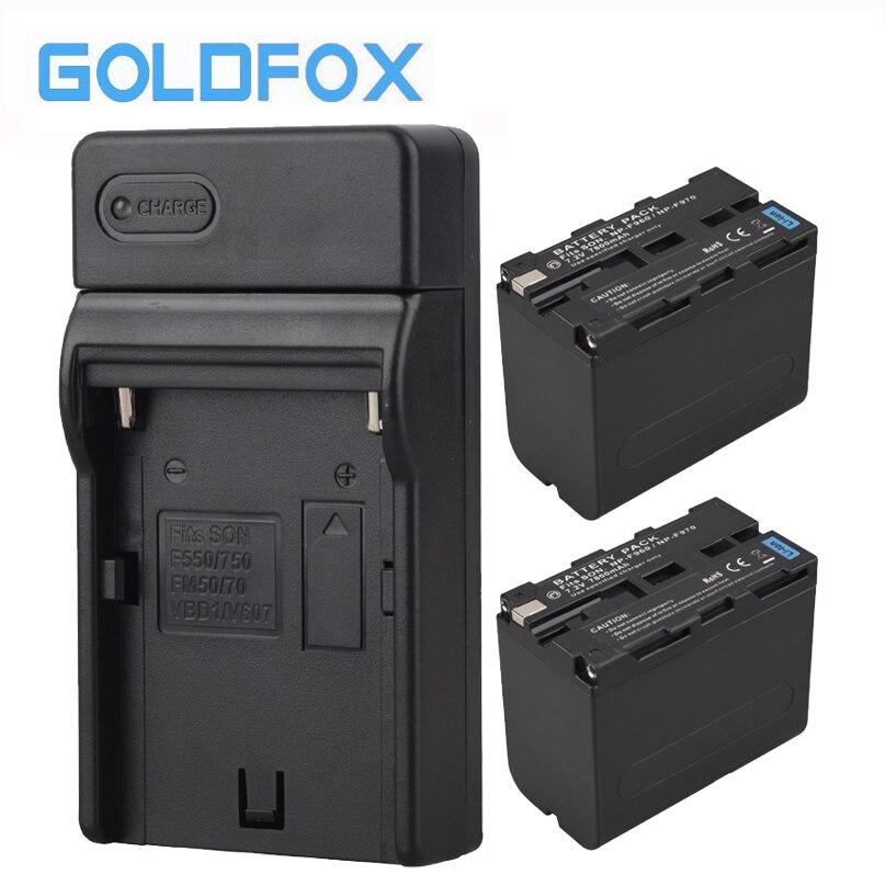 Haute Capacité 2 PCS 7800 mAh NP-F970 NP-F960 NP F970 NP F960 Appareil Photo numérique Batterie + Chargeur USB pour Sony NP-F960 NP-F970 batterie