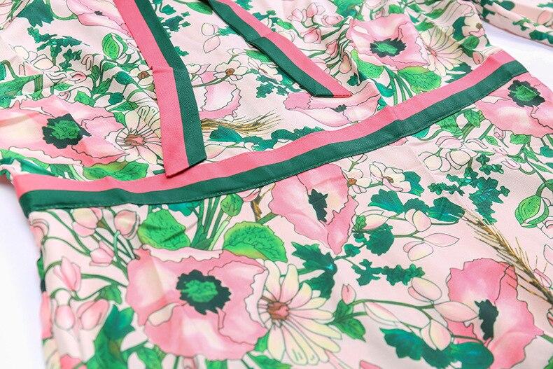 Limo 秋のファッション滑走路長袖ドレス女性のベルト付き襟多色花柄ヴィンテージエレガントなドレス DELLA · 11