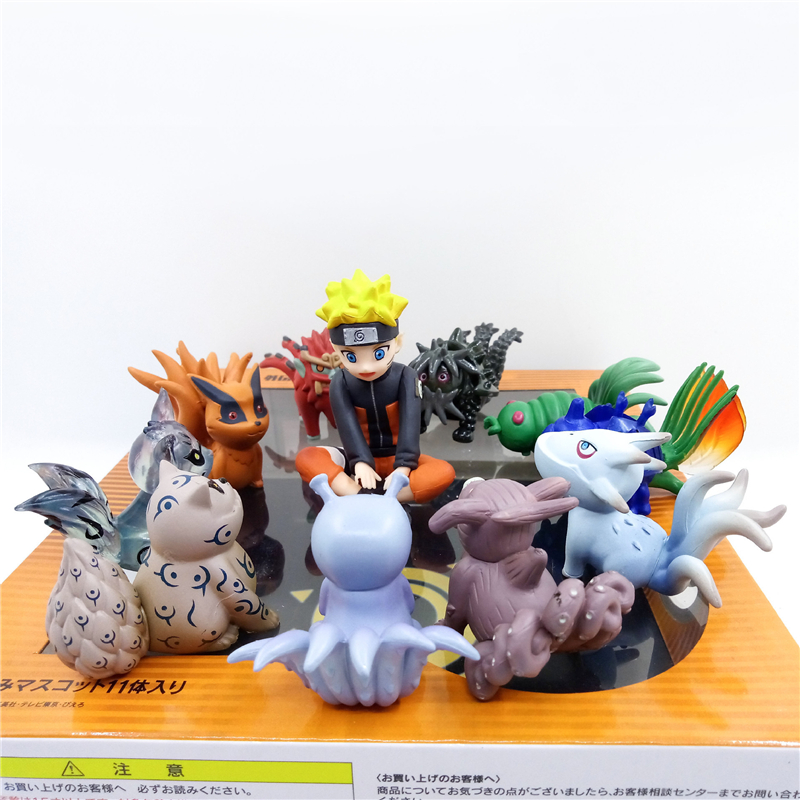 Anime NARUTO Brinquedos PVC 6cm Uzumaki Naruto And Tailed beasts Mini Children Action Figure Model doll Gift Toy Suit HZW141 arale figure anime cartoon dr slump pvc action figure collectible model toy children kids gift 6 types