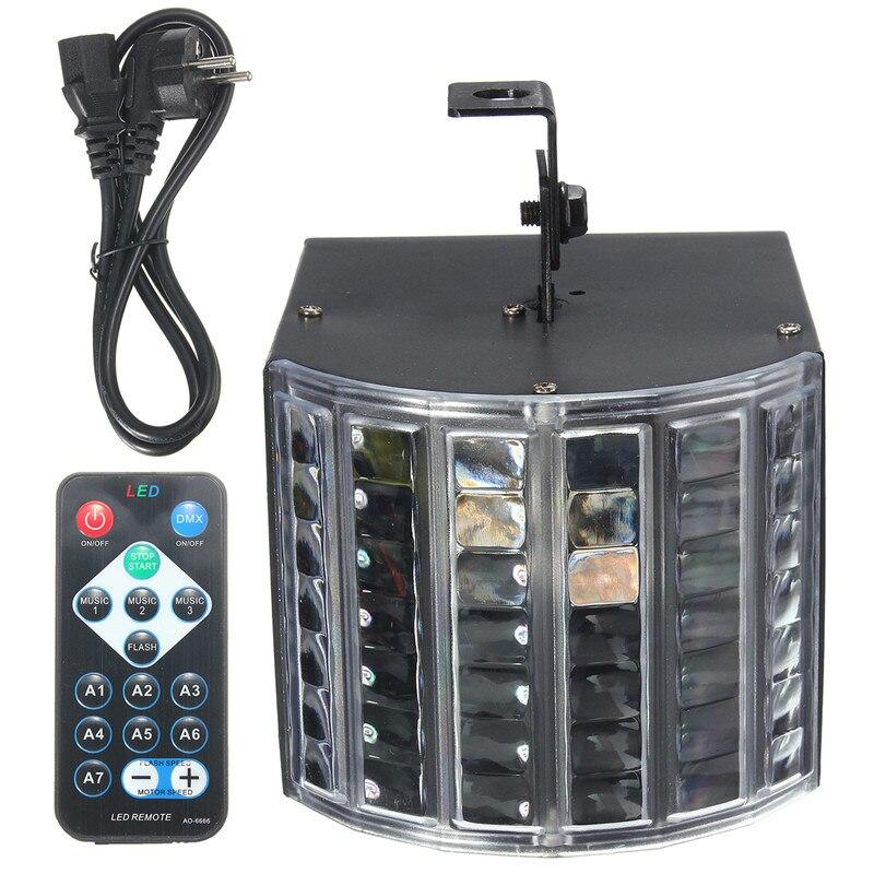 LED RGB Auto/Sound Control DMX512 Strobe Stage Effect Lighting DJ Disco Bar Party 7 Channel With Remote Light Lamp 6W AC90-240V