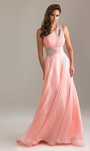 Luxury Custom 2015 new style best designs a long shoulder Chiffon Prom Dress Lace up back