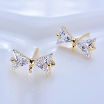 (110)6PCS 12x6MM 24K Gold Color Brass with White Zircon Bow Stud Earrings High Quality Diy Jewelry Findings Accessories глицин форте 300 мг 20 табл для рассасывания