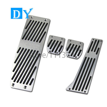NULLA LHD Aluminum Silver Pedals Fuel Gas Brake Pedal for BMW E30 E36 E46 E87 E90 E91 E92 E93 M3 Manual MT No-Silp Foot Rest image
