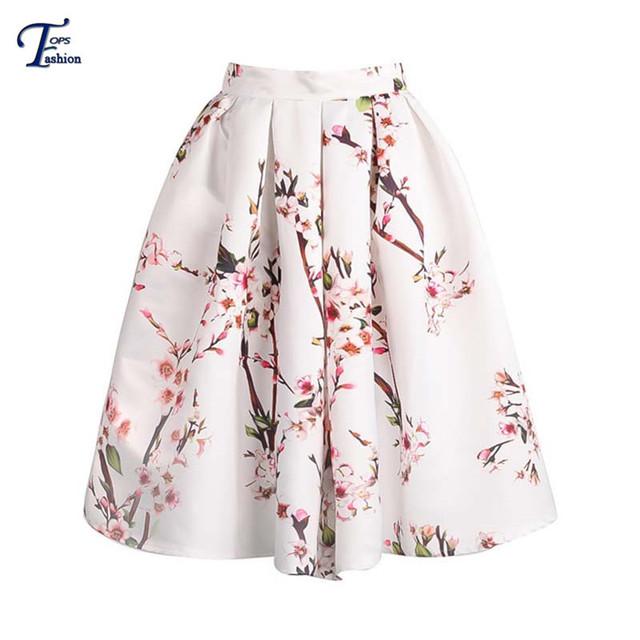 2016 Saias Femininas verano moda diseñador de la marca mujeres faldas casuales blanco Floral impreso llamarada plisado falda de Midi