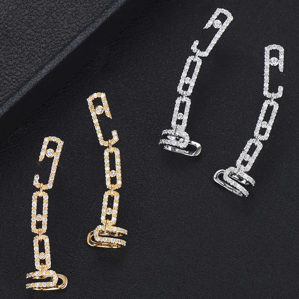 GODKI Brand Famous Chic Stud EarringsCuff For Woman Punk Rock Boucle D'oreille Vintage Jewelry Dazzling Cubic Zircon Brincos2019