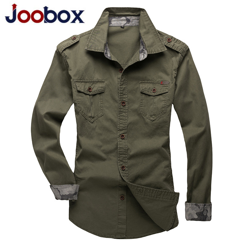 JOOBOX Casual Mens Pilot Shirt Long Sleeve Patchwork Pocket Shirts Men Hoodies Fashion Army Military Style Shirts For Male spring outfits for kids