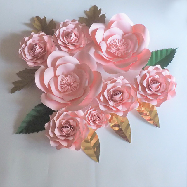 2018 Diy Craft Large Giant Paper Flowers Rose 8pcs Leaves 8pcs