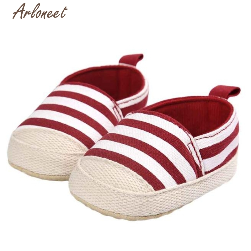 2017 FASHIONGirl Stripe Canvas Shoe Baby Boys Shoes Sneaker Anti-slip Soft Sole Toddler