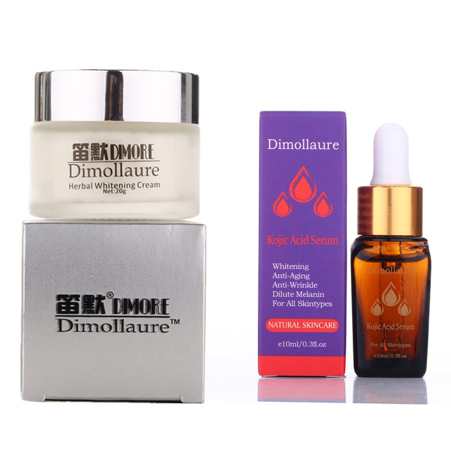 Dimollaure Strong Effect Whitening Cream +Kojic Acid Serum Remove Freckle Melasma Pigment Melanin Sunburn Acne Scars Brown Spot