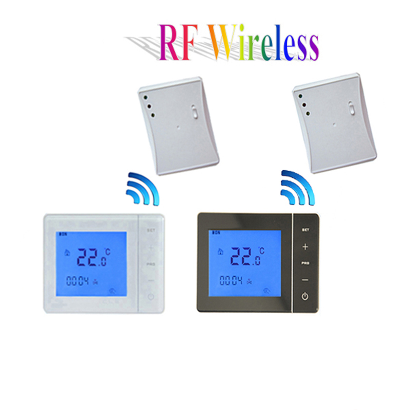 RF 433MHZ Wireless Wall-hung Gas Boiler Thermostat 5A 100-240VAC LCD Touch Screen Remote Control Programmable