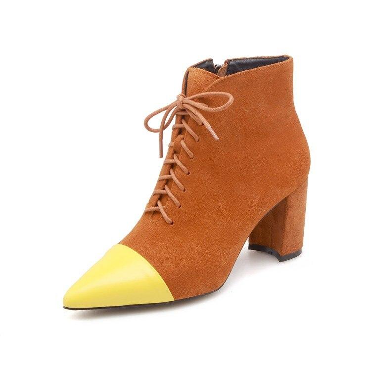 Corta Las Zapatos Tacón Moda Mujeres De Ante Alto La Tobillo Invierno Vaca Botas Mujer Punta amarillo Cuero Negro {zorssar} 2019 1aqEII