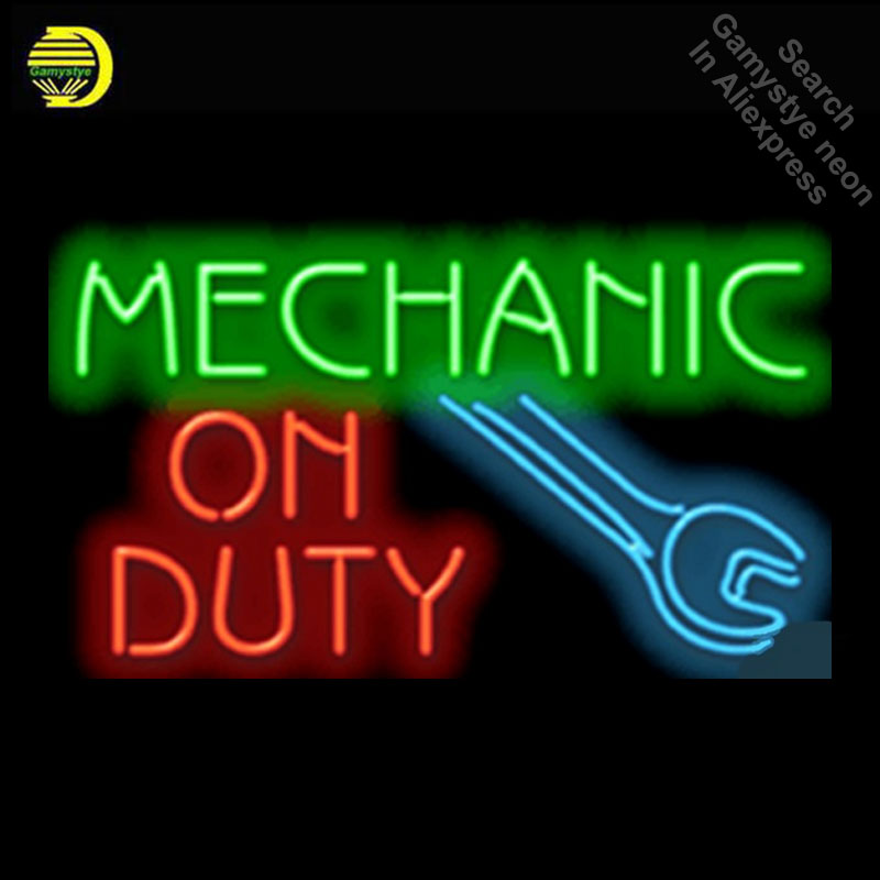 Mechanic On Duty Repair Car Auto Glass Tube neon sign Handcrafted Automotive signs Shop Store Business Signboard signage 17x14