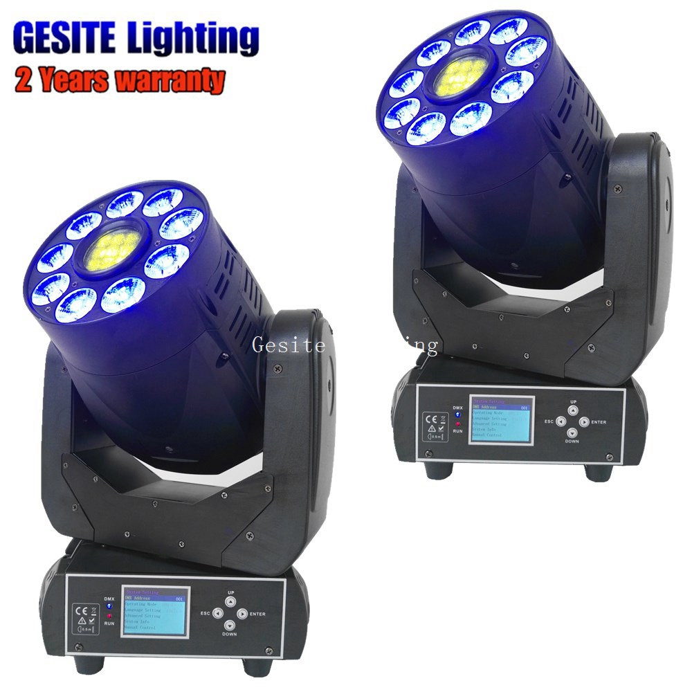 9pcs 12W RGBWAUV 6in1 LED Wash Combine 75W Gobo Effect Moving Head Spot Light Stage Light